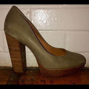 Gianni Bini suede olive pumps - wooden block heel